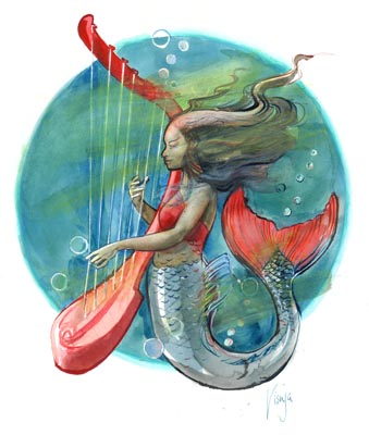Red Harp Mermaid